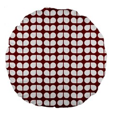 Red And White Leaf Pattern 18  Premium Round Cushion  by creativemom