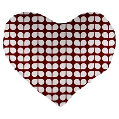 Red And White Leaf Pattern 19  Premium Heart Shape Cushion by creativemom