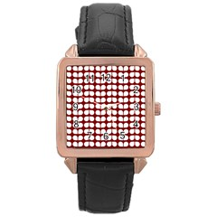 Red And White Leaf Pattern Rose Gold Leather Watch  by creativemom