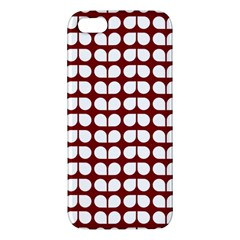 Red And White Leaf Pattern Apple Iphone 5 Premium Hardshell Case by creativemom