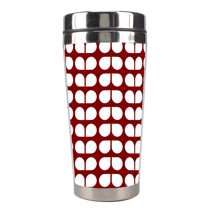 Red And White Leaf Pattern Stainless Steel Travel Tumbler