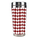 Red And White Leaf Pattern Stainless Steel Travel Tumbler Right