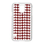 Red And White Leaf Pattern Samsung Galaxy S5 Case (White) Front