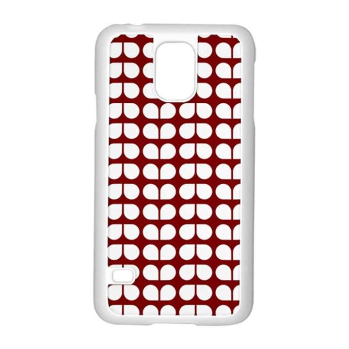 Red And White Leaf Pattern Samsung Galaxy S5 Case (White)