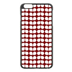 Red And White Leaf Pattern Apple iPhone 6 Plus Black Enamel Case by creativemom