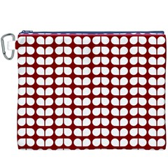 Red And White Leaf Pattern Canvas Cosmetic Bag (xxxl) by creativemom