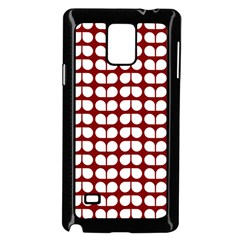Red And White Leaf Pattern Samsung Galaxy Note 4 Case (black)