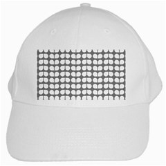 Gray And White Leaf Pattern White Baseball Cap by creativemom