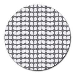 Gray And White Leaf Pattern 8  Mouse Pad (round) by creativemom