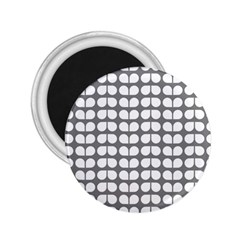 Gray And White Leaf Pattern 2 25  Button Magnet by creativemom