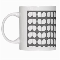 Gray And White Leaf Pattern White Coffee Mug by creativemom