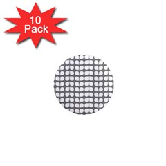 Gray And White Leaf Pattern 1  Mini Button Magnet (10 Pack) by creativemom