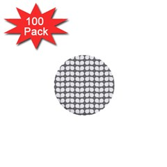 Gray And White Leaf Pattern 1  Mini Button (100 Pack) by creativemom