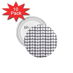 Gray And White Leaf Pattern 1 75  Button (10 Pack) by creativemom