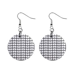 Gray And White Leaf Pattern Mini Button Earrings