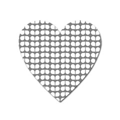 Gray And White Leaf Pattern Magnet (heart) by creativemom