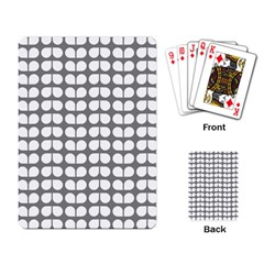 Gray And White Leaf Pattern Playing Cards Single Design by creativemom
