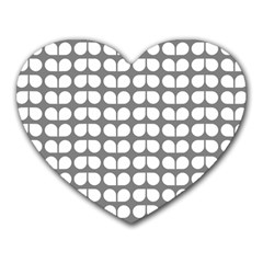 Gray And White Leaf Pattern Mouse Pad (heart) by creativemom