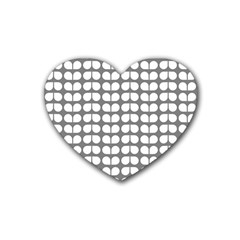 Gray And White Leaf Pattern Drink Coasters (heart) by creativemom