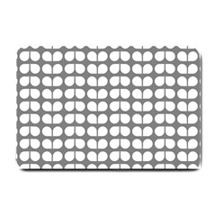 Gray And White Leaf Pattern Small Door Mat by creativemom