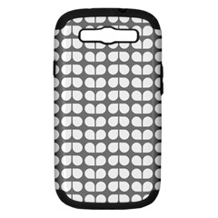 Gray And White Leaf Pattern Samsung Galaxy S Iii Hardshell Case (pc+silicone) by creativemom