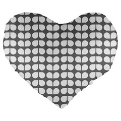 Gray And White Leaf Pattern 19  Premium Heart Shape Cushion by creativemom