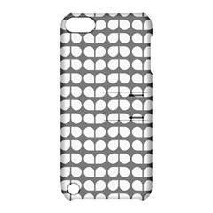 Gray And White Leaf Pattern Apple Ipod Touch 5 Hardshell Case With Stand by creativemom