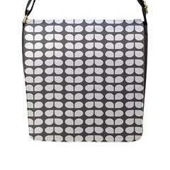 Gray And White Leaf Pattern Flap Closure Messenger Bag (large) by creativemom