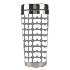 Gray And White Leaf Pattern Stainless Steel Travel Tumbler by creativemom
