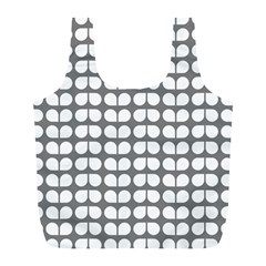 Gray And White Leaf Pattern Reusable Bag (l) by creativemom