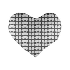 Gray And White Leaf Pattern 16  Premium Flano Heart Shape Cushion  by creativemom