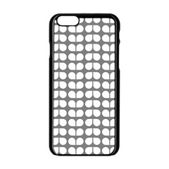Gray And White Leaf Pattern Apple Iphone 6 Black Enamel Case by creativemom