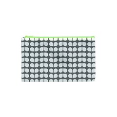Gray And White Leaf Pattern Cosmetic Bag (xs) by creativemom