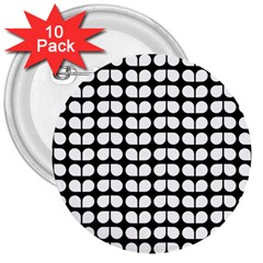 Black And White Leaf Pattern 3  Button (10 Pack) by creativemom