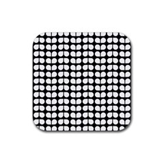 Black And White Leaf Pattern Drink Coasters 4 Pack (square) by creativemom