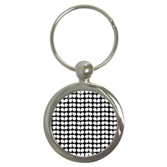 Black And White Leaf Pattern Key Chain (round) by creativemom