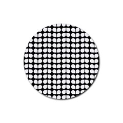 Black And White Leaf Pattern Drink Coaster (round) by creativemom