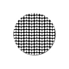 Black And White Leaf Pattern Magnet 3  (round) by creativemom