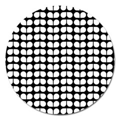 Black And White Leaf Pattern Magnet 5  (round) by creativemom
