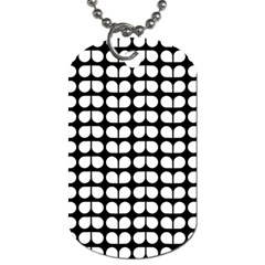 Black And White Leaf Pattern Dog Tag (two Sided)  by creativemom
