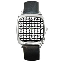 Black And White Leaf Pattern Square Leather Watch by creativemom