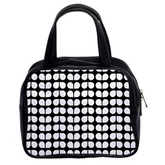 Black And White Leaf Pattern Classic Handbag (two Sides) by creativemom