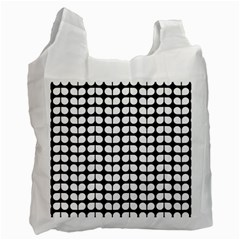 Black And White Leaf Pattern White Reusable Bag (two Sides) by creativemom