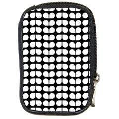 Black And White Leaf Pattern Compact Camera Leather Case by creativemom