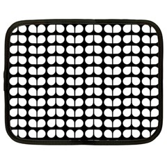 Black And White Leaf Pattern Netbook Sleeve (xxl) by creativemom