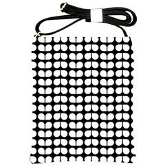 Black And White Leaf Pattern Shoulder Sling Bag by creativemom