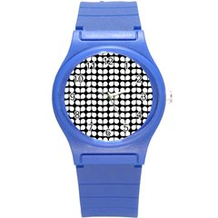 Black And White Leaf Pattern Plastic Sport Watch (small) by creativemom