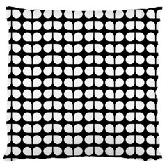 Black And White Leaf Pattern Large Cushion Case (single Sided)  by creativemom