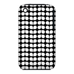 Black And White Leaf Pattern Apple Iphone 3g/3gs Hardshell Case (pc+silicone) by creativemom