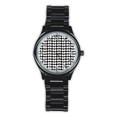 Black And White Leaf Pattern Sport Metal Watch (black) by creativemom